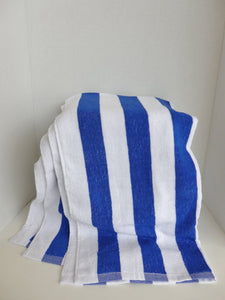 Blue and white stripe at one end pool towel 24 x 52