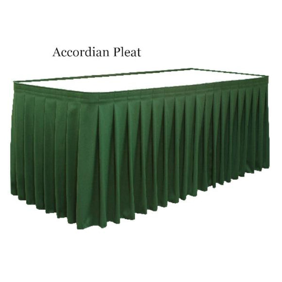 table skirts-Radius Display Accordian Pleat Tableskirting