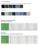 Colors and sizing for work shirts & work pants