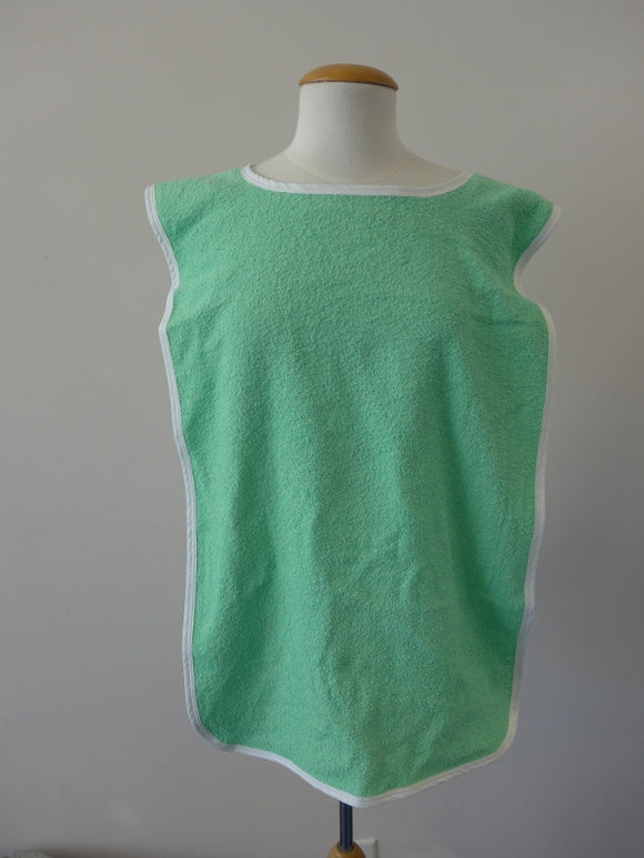 Adult Clothing Protector / Adult Bib - Green Terry Overhead