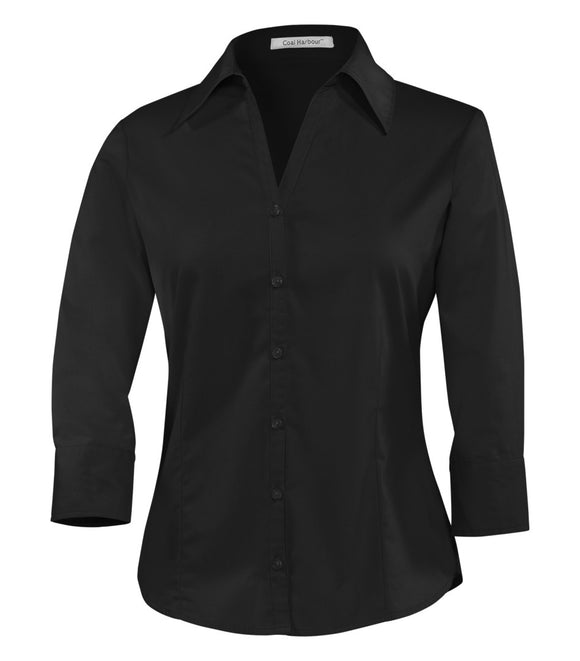 Coal Harbour Easy Care Ladies 3/4 Sleeve Shirt L615 Black