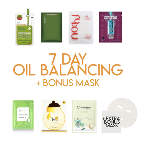 7 Day Mask Oil Balancing Kit + Bonus Mask - Shop Amabie: For the best Korean beauty best, Korean skincare, Japanese beauty, Japanese skincare, Taiwanese beauty, Taiwanese skincare