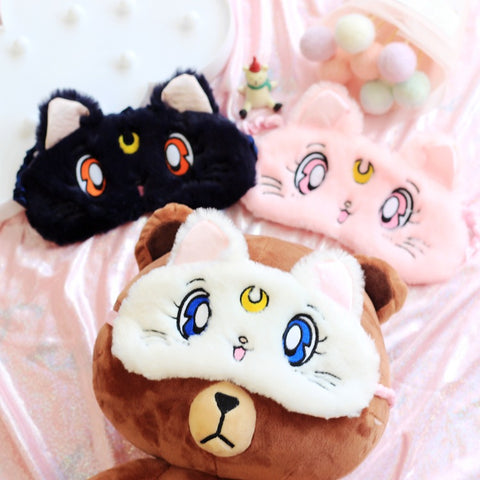 Moon Cat Plush Sleeping Eye Mask