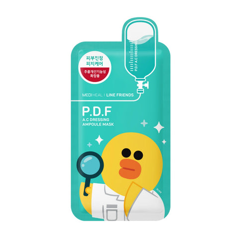 Line Friends P.D.F A.C Dressing Ampoule Mask - Shop Amabie: For the best Korean beauty best, Korean skincare, Japanese beauty, Japanese skincare, Taiwanese beauty, Taiwanese skincare