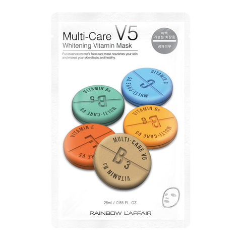 Multi Care V5 Whitening Vitamin Mask - Shop Amabie: For the best Korean beauty best, Korean skincare, Japanese beauty, Japanese skincare, Taiwanese beauty, Taiwanese skincare