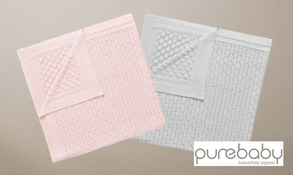 Purebaby Eyelet Blanket - Pre-Packed Maternity Hospital Bags - Bundle