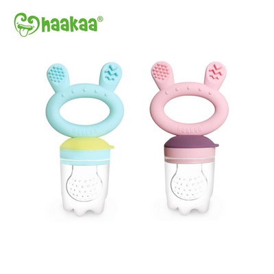 Haakaa Fresh Food Teether Feeder (Bunny) - Pre-Packed Maternity Hospital Bags - Bundle
