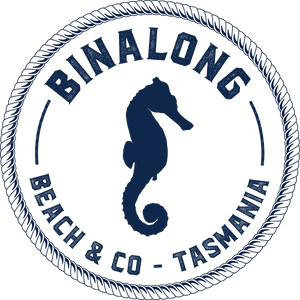 Binalong Beach & CO logo, seahorse, Tasmania