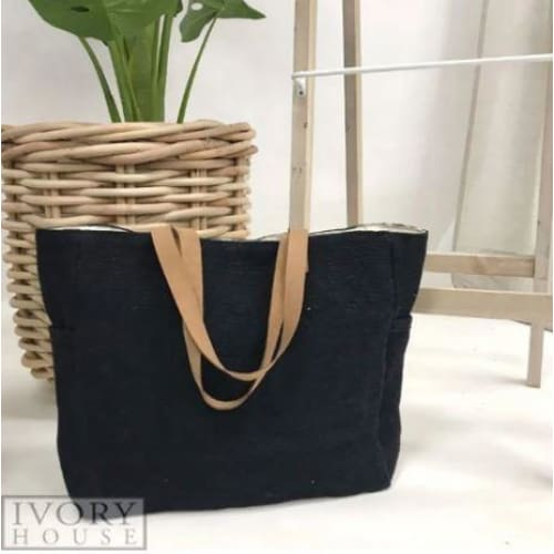 Charcoal - Washed Canvas Tote Bag Beach Tote
