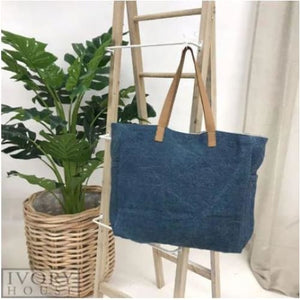 Denim - Washed Canvas Tote Bag Beach Tote