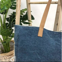 Load image into Gallery viewer, Denim - Washed Canvas Tote Bag Beach Tote