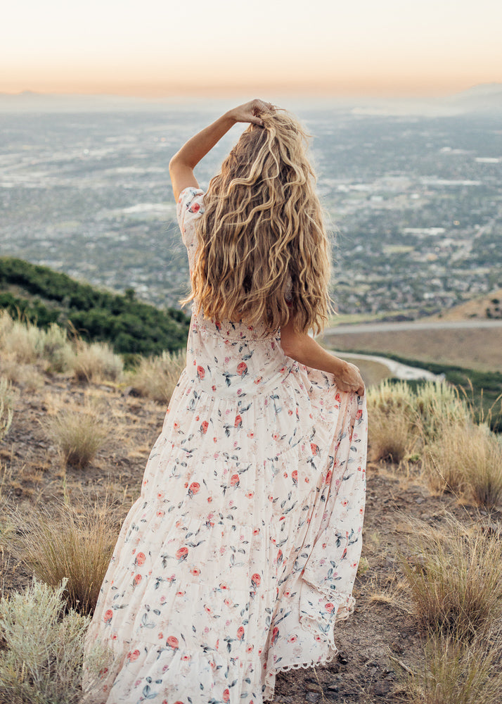 Sunset Rose Floral Dress *Preorder*
