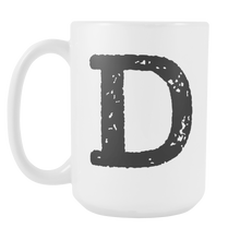 Initial Mug - Letter D - 15oz Ceramic Cup - Brother Gift Mug - Right-Handed or Left-Handed Mug