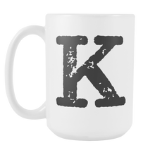 Initial Mug - Letter K - 15oz Ceramic Cup - Granddad Gift Mug - Right-Handed or Left-Handed Mug