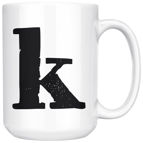K Initial Mug - Lower Case K - 15oz Ceramic Cup - Co-Worker Gift Mug - Right-Handed or Left-Handed Mug