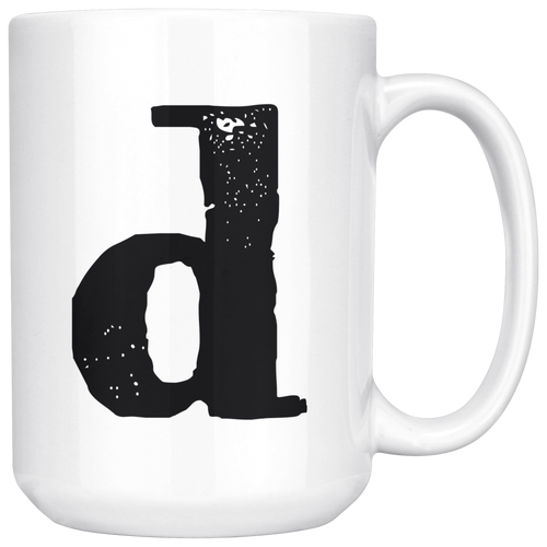 Lower Case D Initial Mug - 15oz Ceramic Cup - Uncle Gift Mug - Right-Handed or Left-Handed Mug