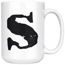 S Initial Mug - Lower Case S - 15oz Ceramic Cup - Sister Gift Mug - Right-Handed or Left-Handed Mug - LetterLuxe