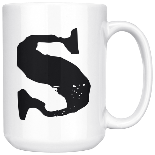 S Initial Mug - Lower Case S - 15oz Ceramic Cup - Sister Gift Mug - Right-Handed or Left-Handed Mug
