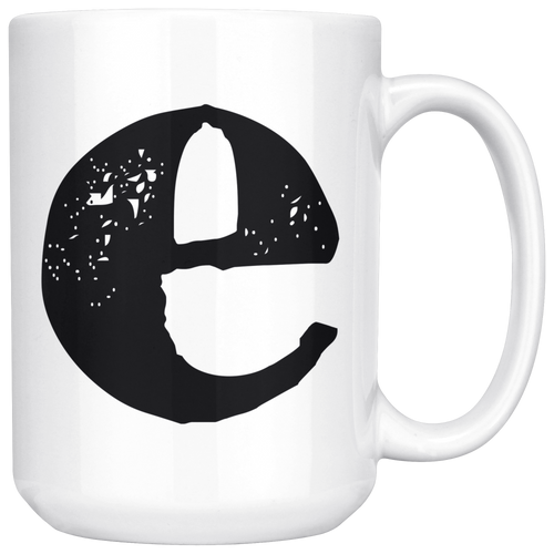 Lower Case E Initial Mug - 15oz Ceramic Cup - Nephew Gift Mug - Right-Handed or Left-Handed Mug