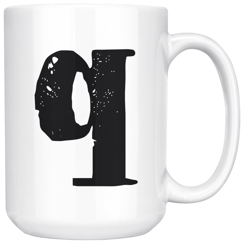 Q Initial Mug - Lower Case Q - 15oz Ceramic Cup - Brother-in-Law Gift Mug - Right-Handed or Left-Handed Mug - LetterLuxe