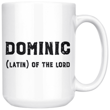 Dominic Name Meaning Mug - 15oz Coffee Cup - Birthday Gift for Man - Personalized Office Mug - Husband Dad Granddad Gift Idea - LetterLuxe