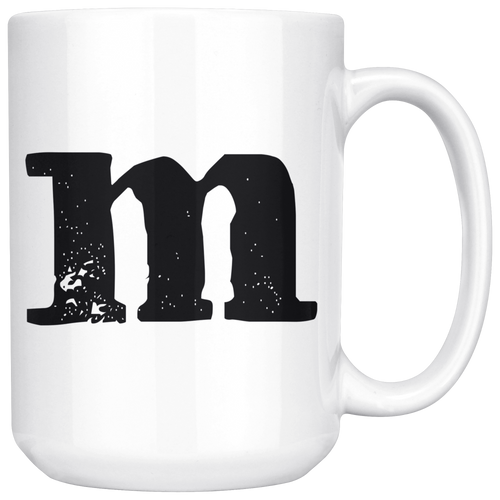 M Initial Mug - Lower Case M - 15oz Ceramic Cup - Brother Gift Mug - Right-Handed or Left-Handed Mug