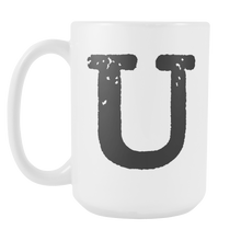 Initial Mug - Letter U - 15oz Ceramic Cup - Uncle Gift Mug - Right-Handed or Left-Handed Mug - LetterLuxe