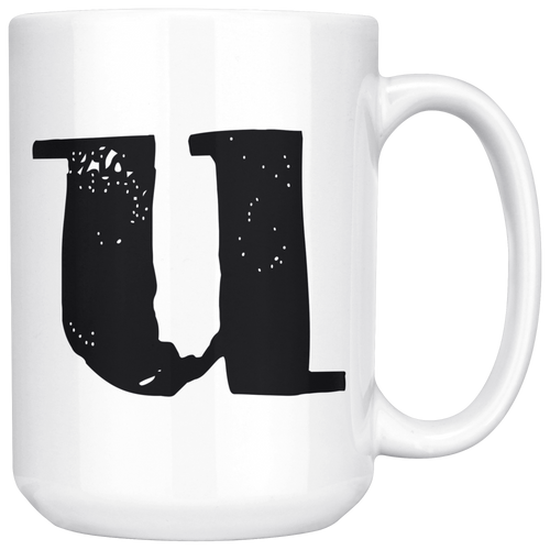 U Initial Mug - Lower Case U - 15oz Ceramic Cup - Personalized Office Mug - Right-Handed or Left-Handed Mug