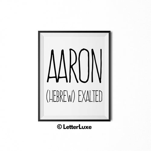 Aaron Name Meaning Nursery Decor - Personalized Adoption Gift Idea - LetterLuxe