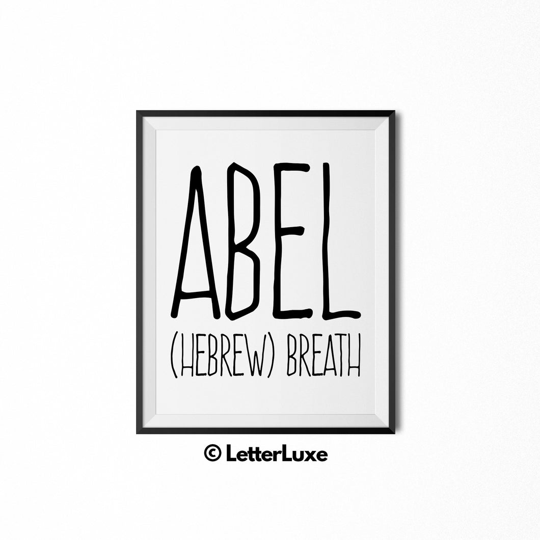 Abel Name Meaning - Nursery Decor - Printable Art - LetterLuxe