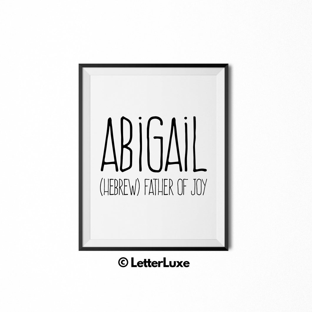Abigail Printable Bedroom Decor - Birthday Gift Idea for Girls - LetterLuxe
