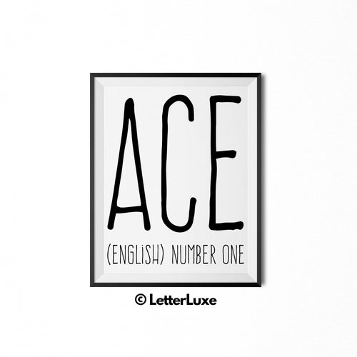 Ace Name Meaning Art - Printable Baby Shower Decorations - Birthday Gift