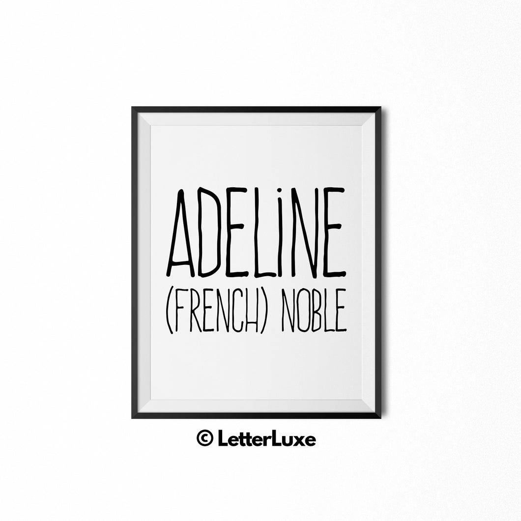 Adeline Name Meaning Art - Birthday Party Decoration Idea - LetterLuxe