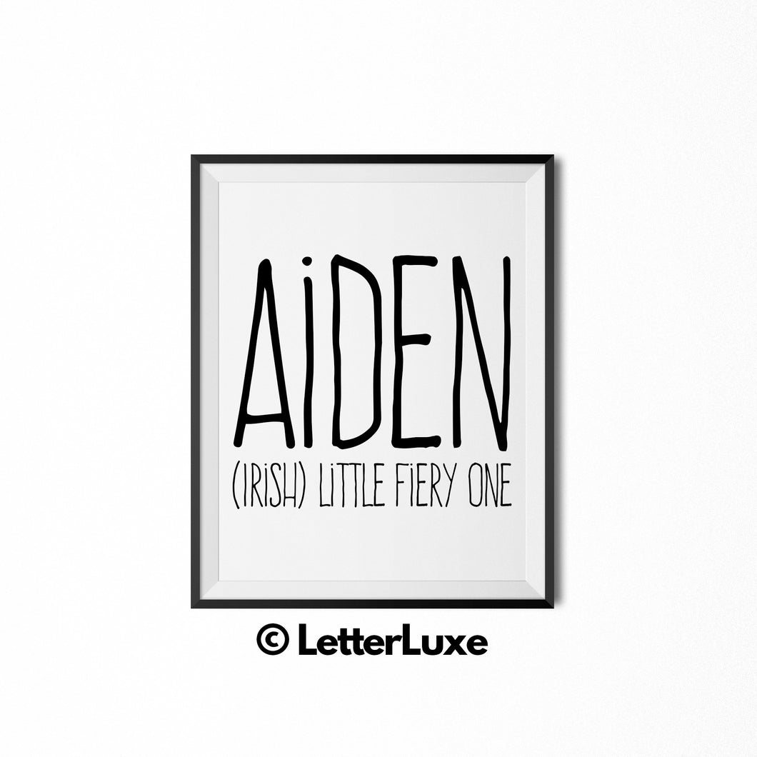 Aiden Name Definition - Printable Nursery Wall Art - LetterLuxe