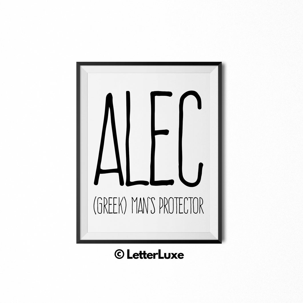 Alec Personalized Bedroom Decor - Birthday Party Decorations - Gift for Dad or Brother