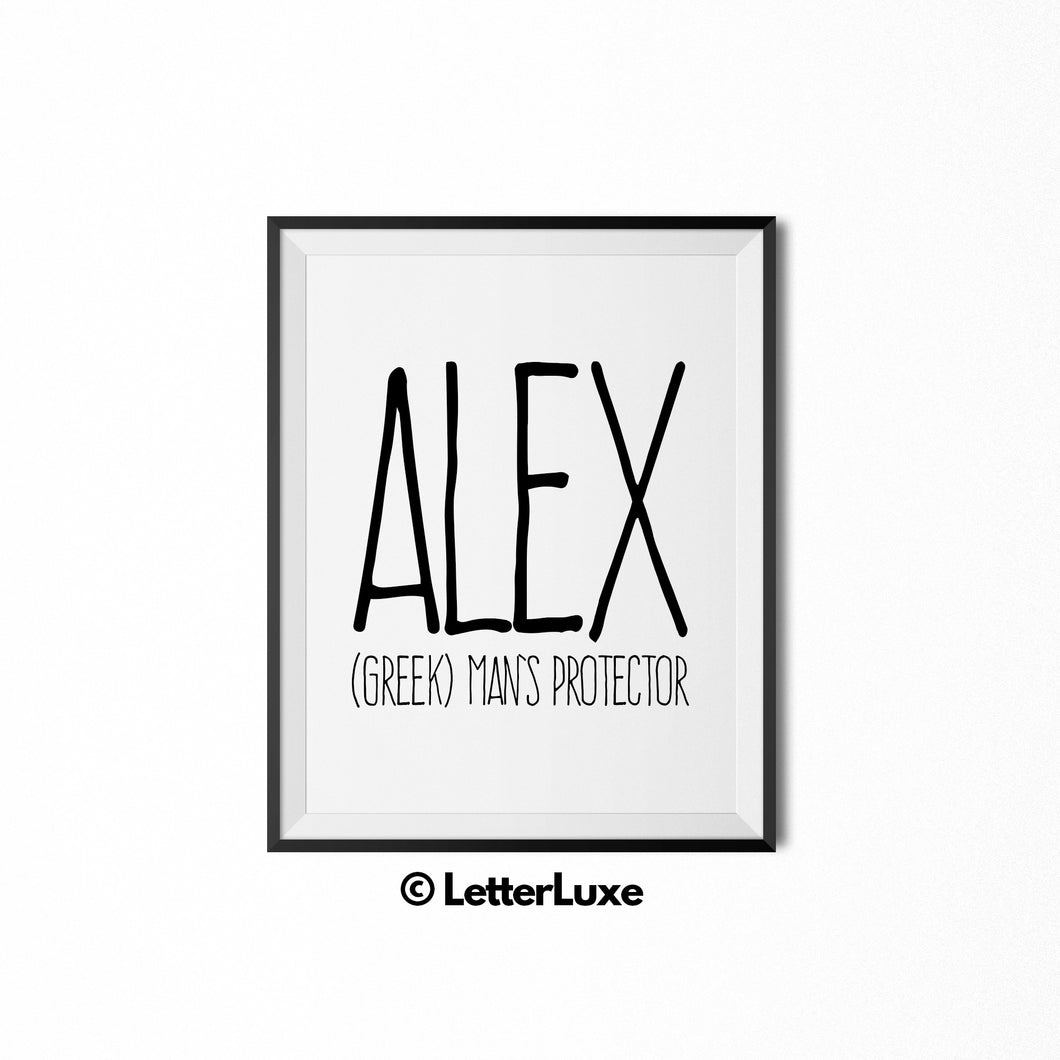 Alex Personalized Bedroom Decor - Birthday Party Decorations - Baby Shower Gift