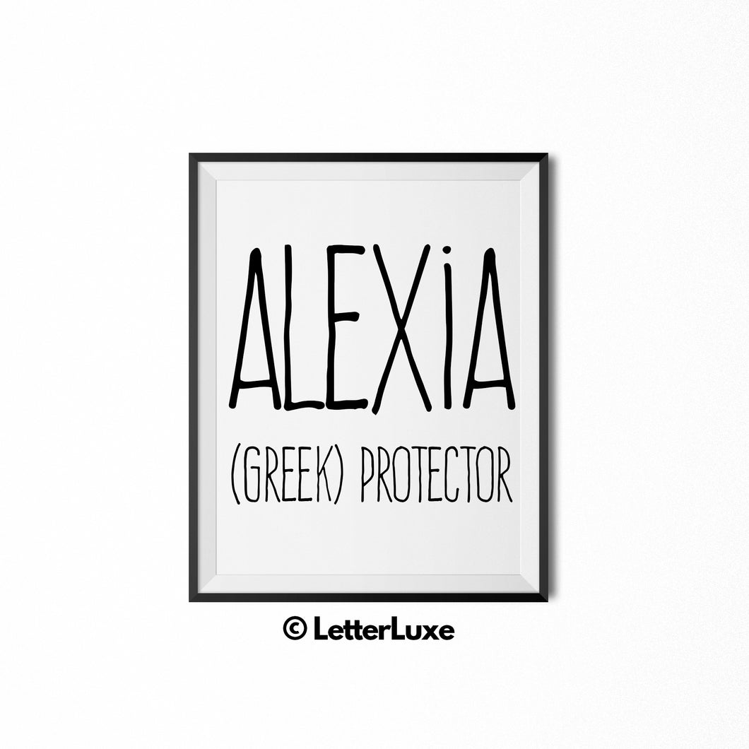 Alexia Name Meaning Wall Art - Nursery Decor for Girls - 1st Birthday Party Decorations