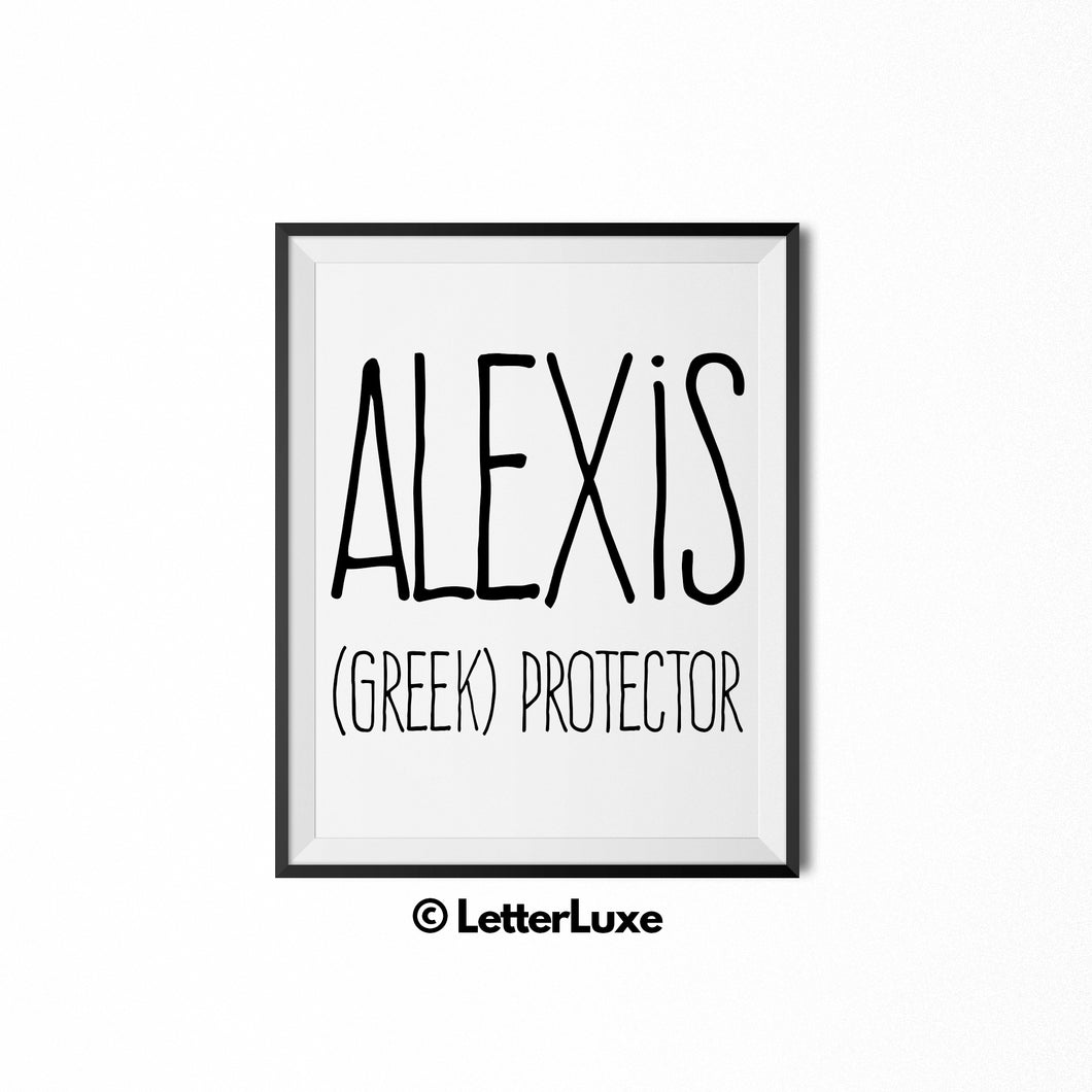 Alexis Name Meaning Wall Art - Printable Bedroom Decor - Cubicle Decoration - Birthday Party Gift - LetterLuxe
