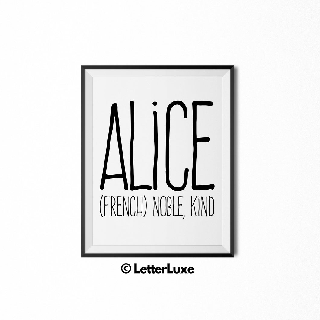 Alice Name Meaning Art - Printable Baby Shower Gift - Birthday Pary Decorations - LetterLuxe