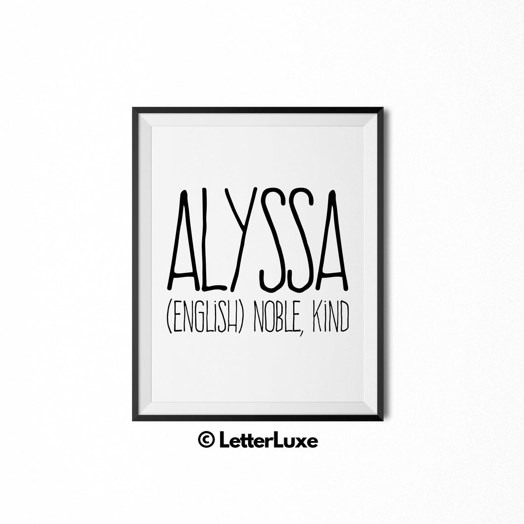 Alyssa Name Meaning Art - Printable Baby Shower Gift - LetterLuxe
