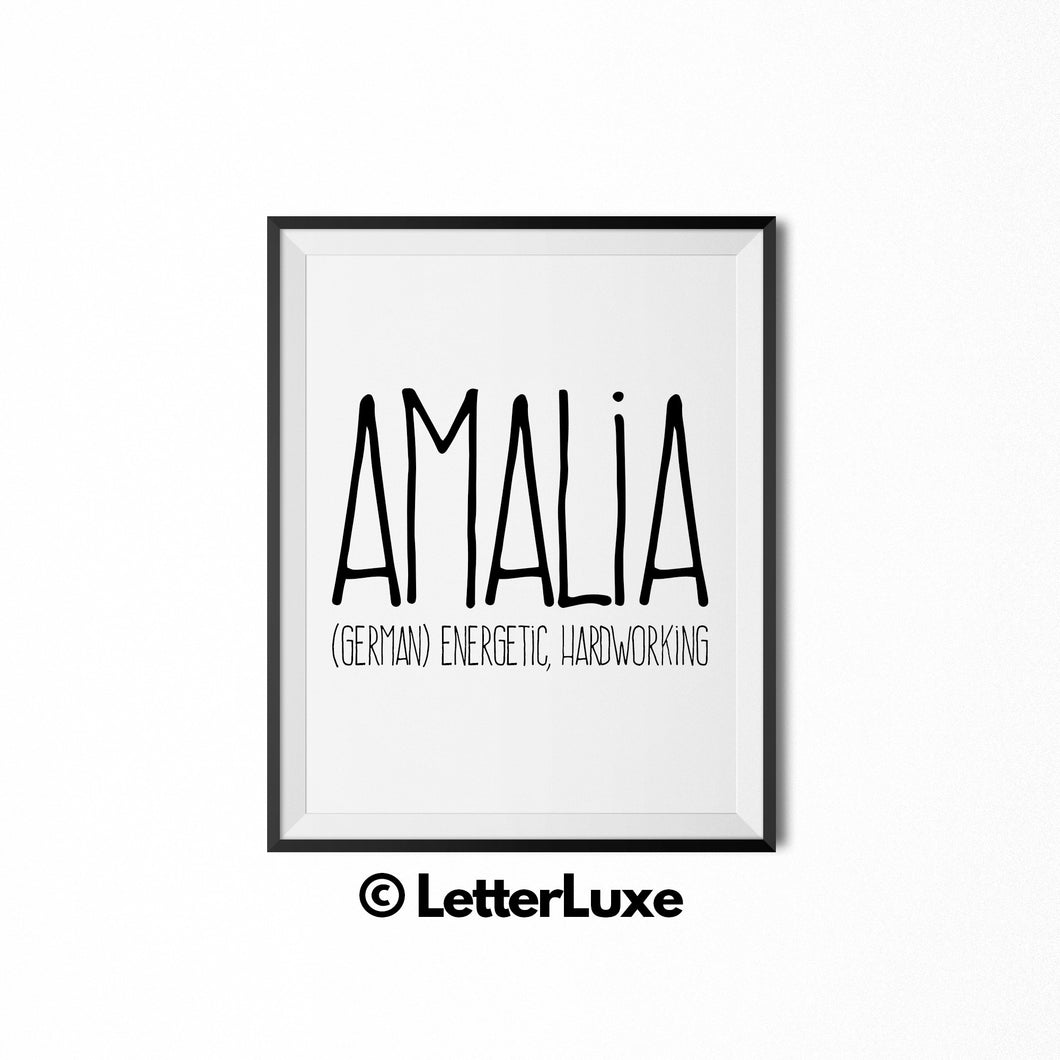 Amalia Personalized Nursery Decor - Baby Shower Decorations for Girls - LetterLuxe