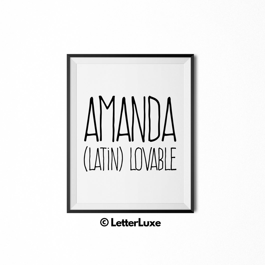 Amanda Name Meaning Art - Romantic Birthday Gift - LetterLuxe