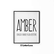Amber Printable Bedroom Decor - Birthday Gift Idea for Women, Girl, Sister, Daughter, Mom