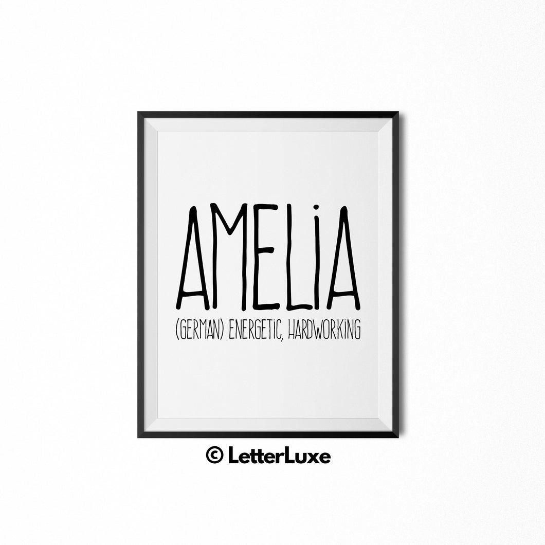 Amelia Personalized Nursery Decor - Baby Shower Decorations for Girls - LetterLuxe