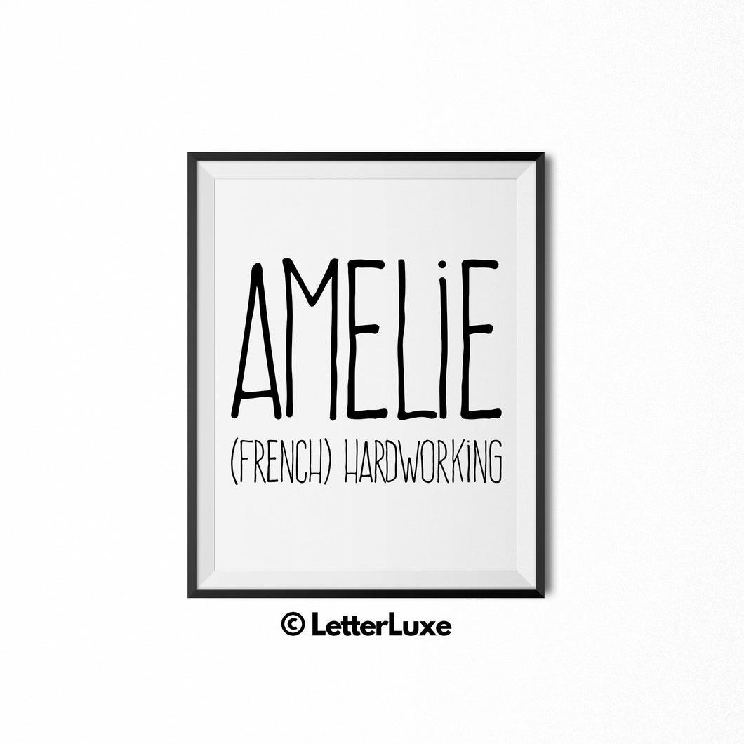 Amelie Printable Bedroom Decor - Birthday Gift Idea for Women, Girl, Sister, Daughter, Mom - LetterLuxe