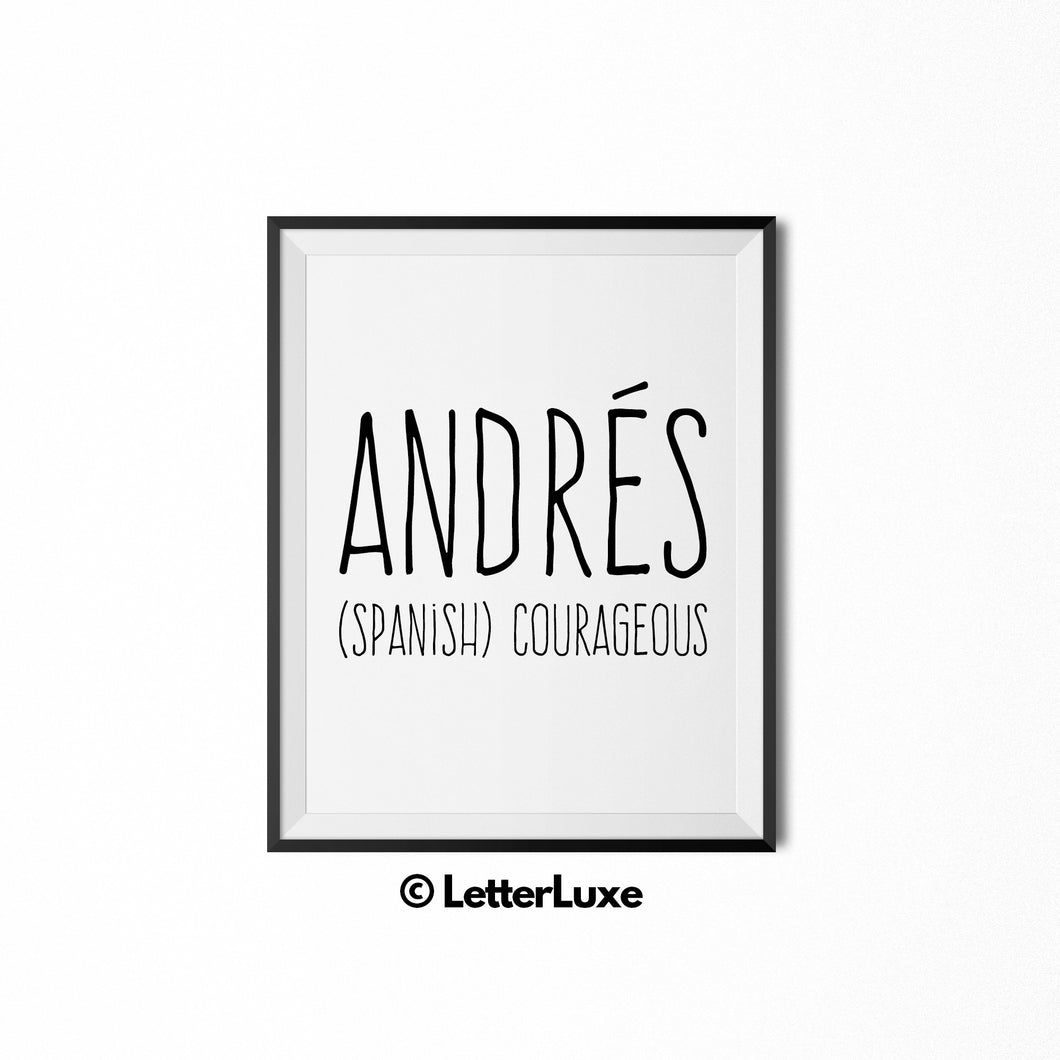 Andres Name Meaning Art - Printable Bedroom Decor - LetterLuxe