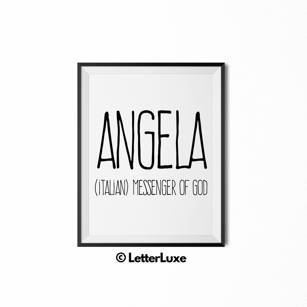 Angela Name Meaning Wall Art - Printable Bedroom Decor - Cubicle Decoration - Birthday Party Gift
