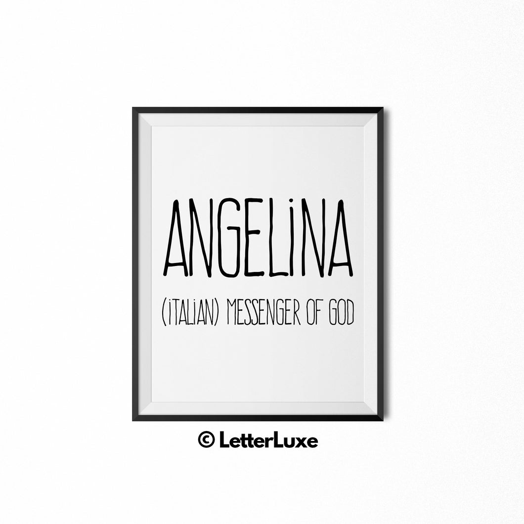 Angelina Name Meaning Art - Printable Baby Shower Gift - Birthday Party Decorations - LetterLuxe