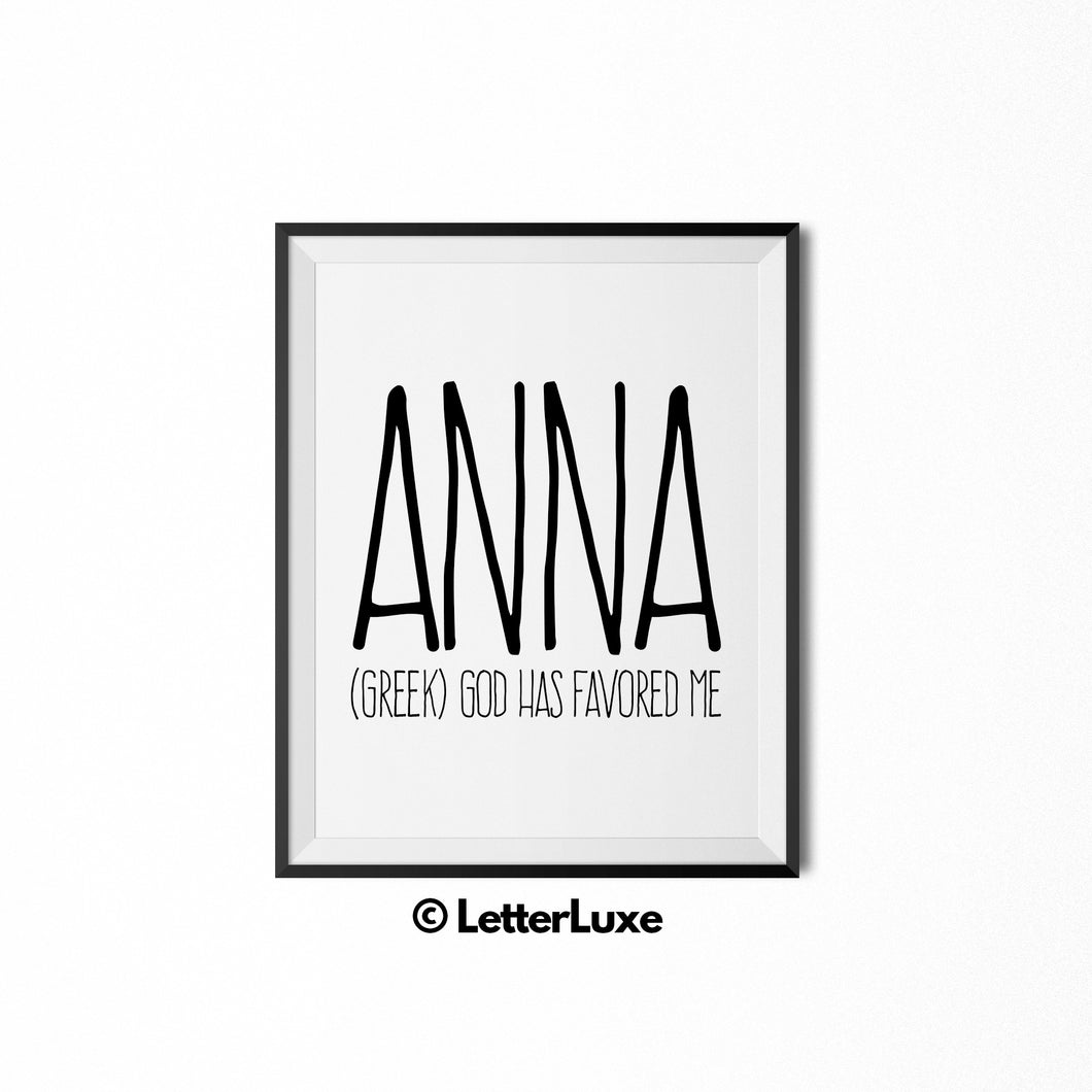 Anna Name Meaning Art - Printable Birthday Party Decorations - LetterLuxe