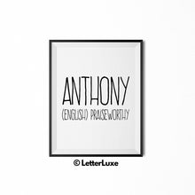 Anthony Name Meaning Art - New Baby Gift